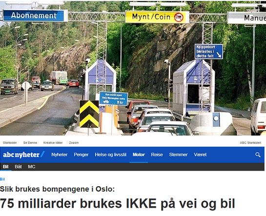 85% av inntektene fra de nye bommene i Oslo går ikke til vei